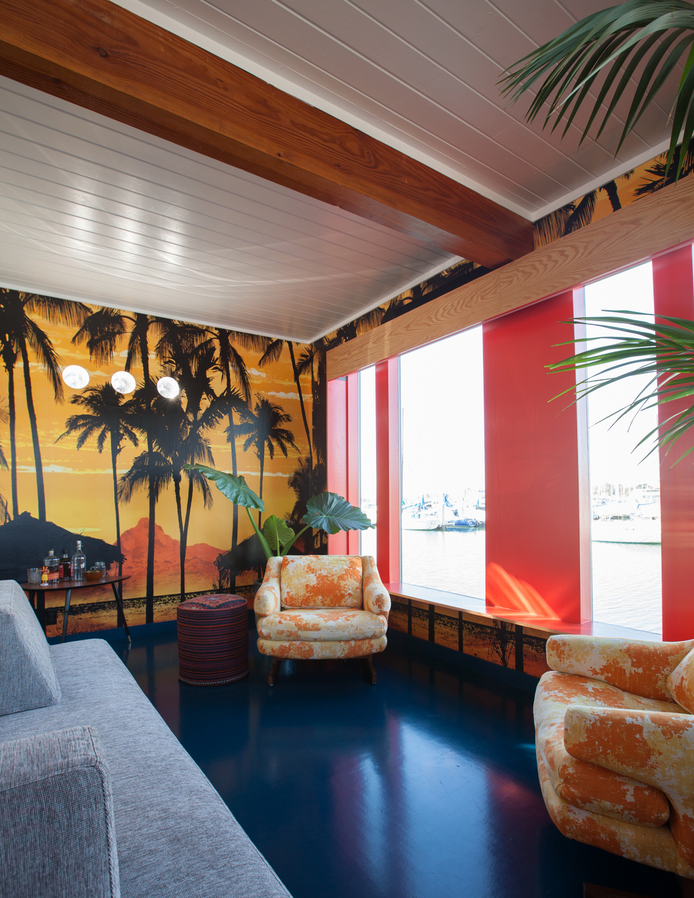 lounge with photo collage // Houseboat by Sky Lanigan for Medium Plenty