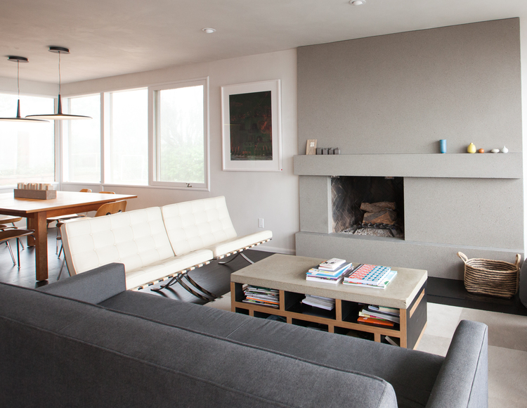 living room fireplace, sofas, and dining table // Cragmont by Sky Lanigan for Medium Plenty