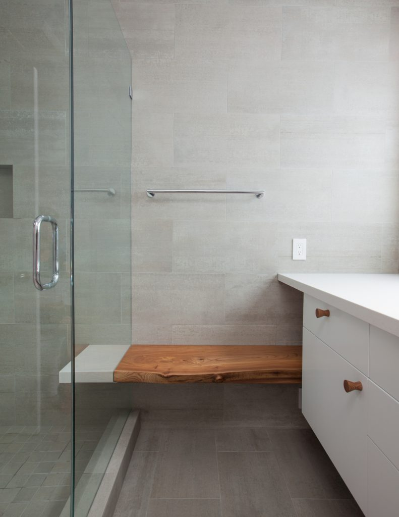 wooden bench and shower // Prospect House by Sky Lanigan for Medium Plenty