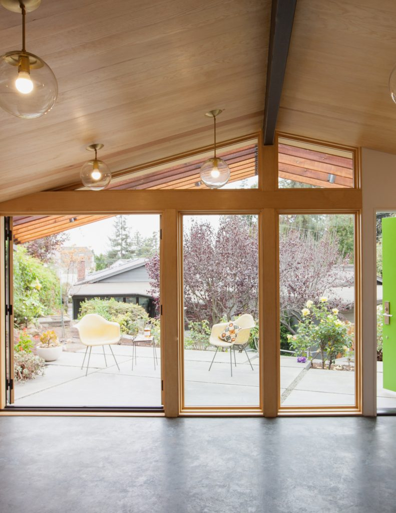 front of the room, with a wall of windows that looks out onto the patio // Prospect Studio by Sky Lanigan for Prospect Studio