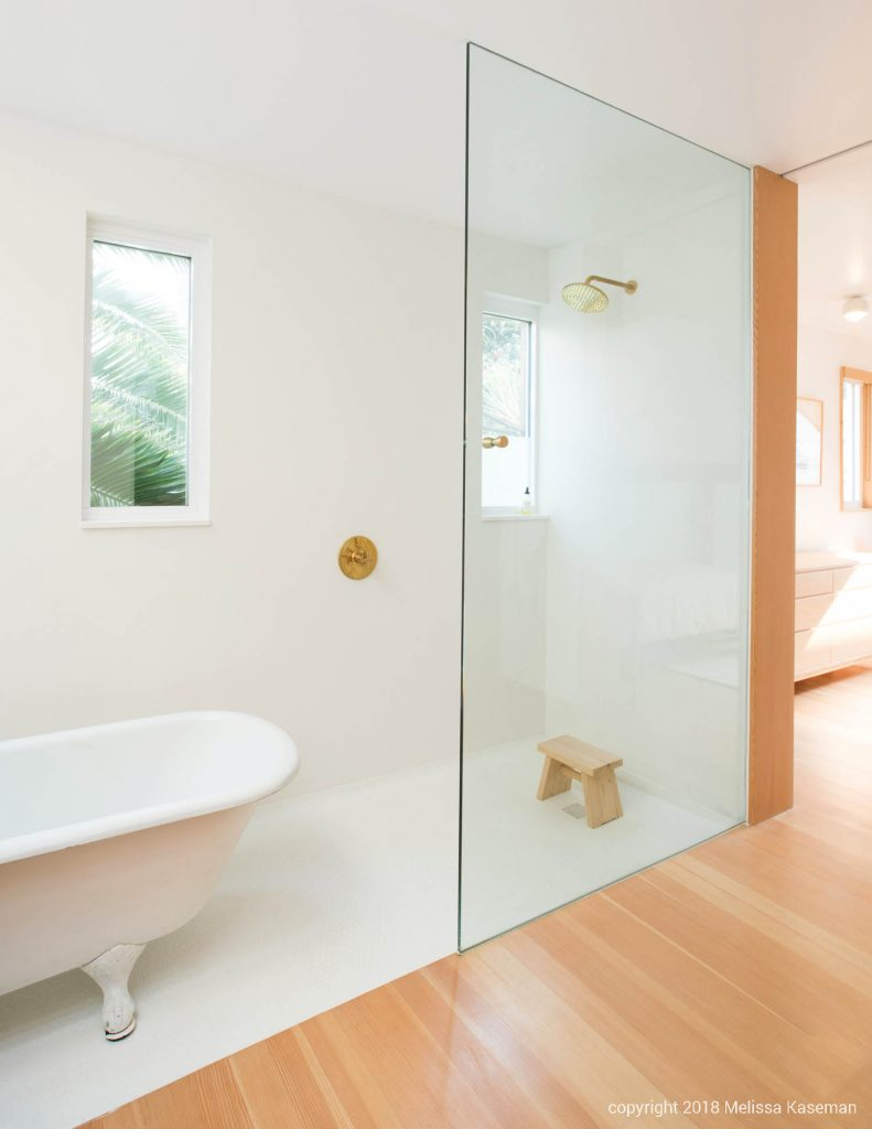 step-in shower with brass fixtures and bright, natural light // Carriage House by Sky Lanigan for Medium Plenty