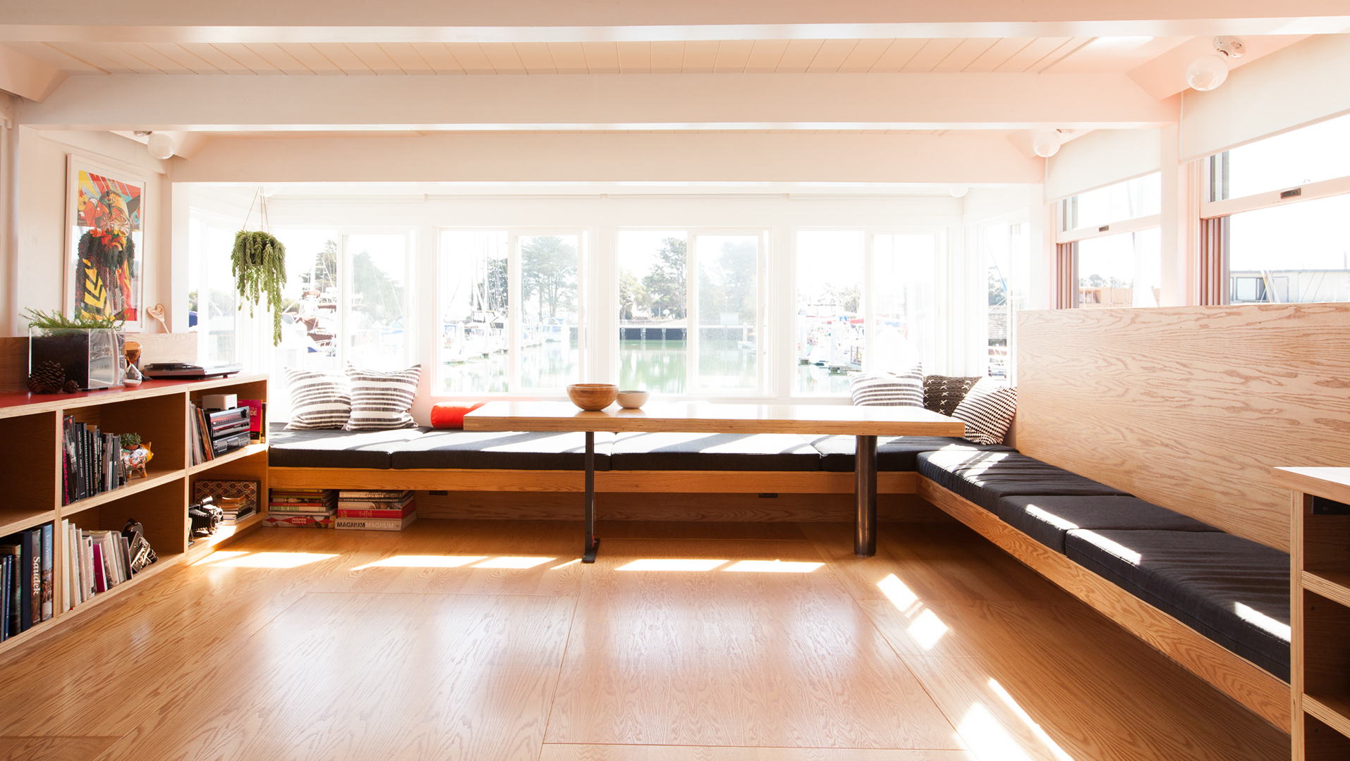 living room with custom seating // Houseboat by Sky Lanigan for Medium Plenty