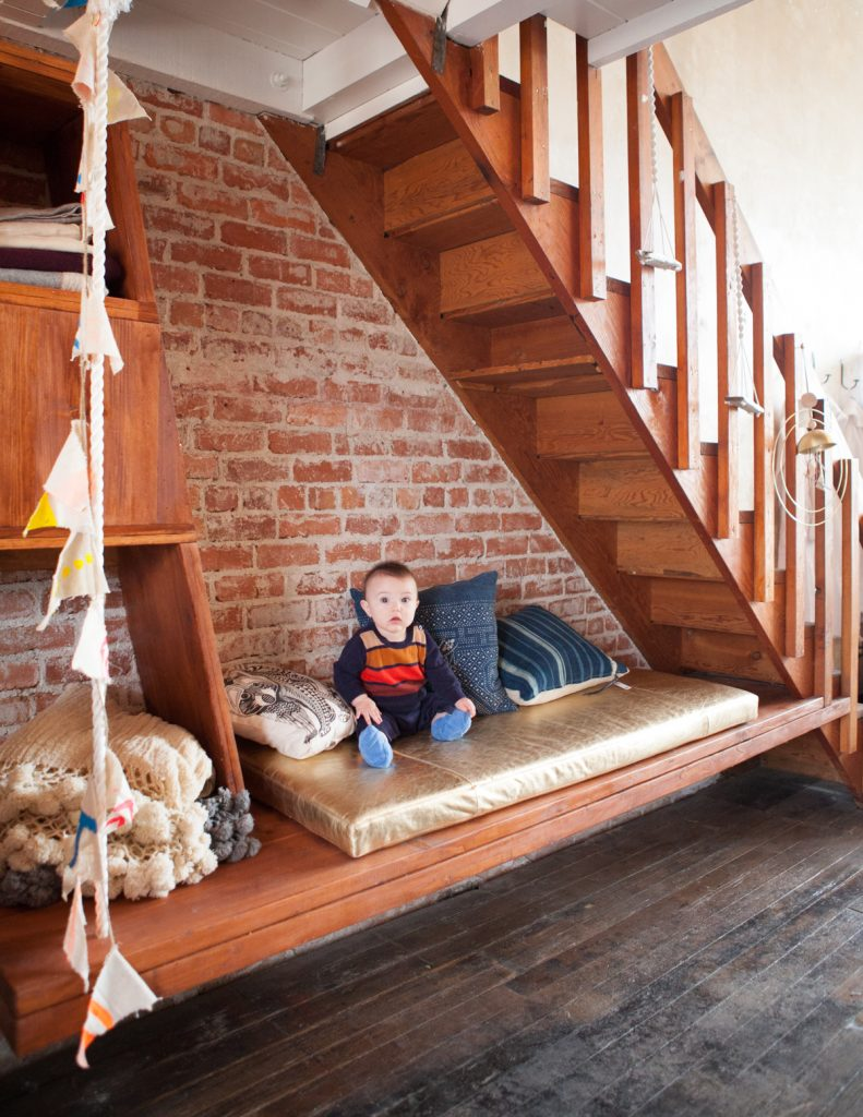 bench built under stairs // Neighbor by Sky Lanigan for Medium Plenty